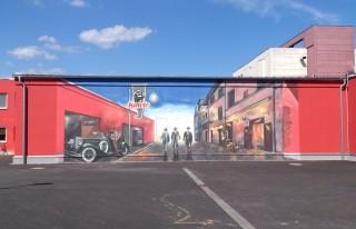Reklamní malba - červený nátěr s logem společnosti Kmotr